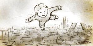 Niño volando